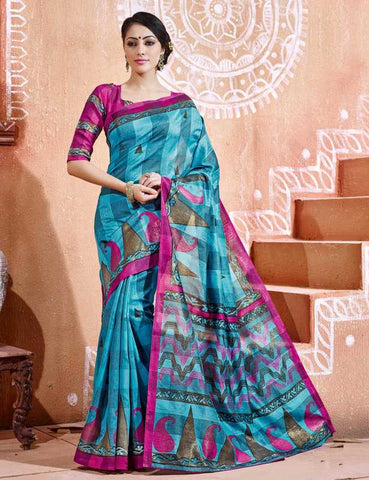 Firozi Color Bhagalpuri Party Wear Sarees : Tashvi Collection  YF-32644