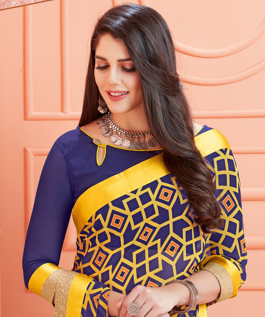 Blue & Yellow Color Georgette Kitty Party Sarees : Ganika Collection  NYF-3144 - YellowFashion.in