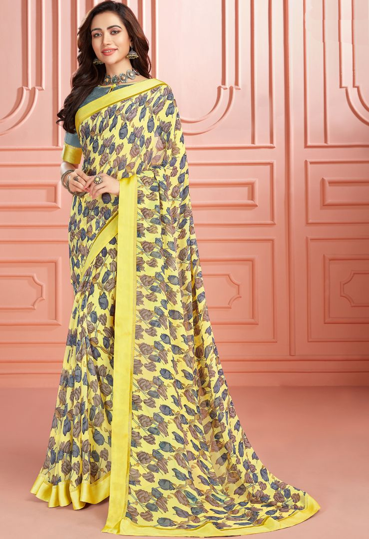Yellow Color Georgette Kitty Party Sarees : Ganika Collection  NYF-3145 - YellowFashion.in