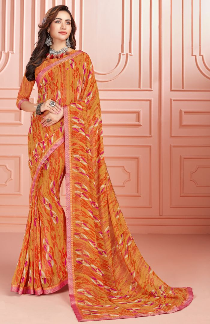 Orange Color Georgette Kitty Party Sarees : Ganika Collection  NYF-3146 - YellowFashion.in