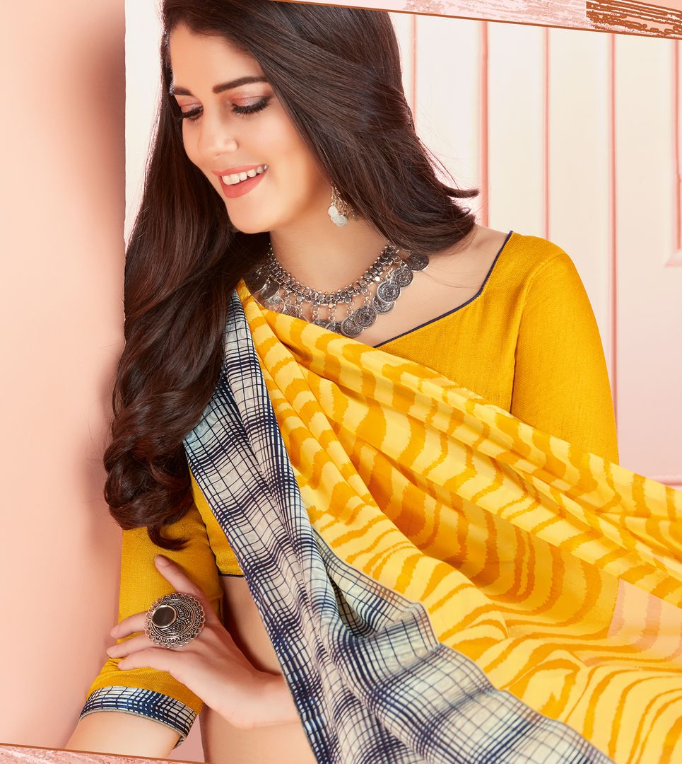Yellow Color Georgette Kitty Party Sarees : Ganika Collection  NYF-3147 - YellowFashion.in