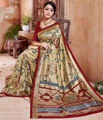 Golden & Red Color Bhagalpuri Party Wear Sarees : Tashvi Collection  YF-32650