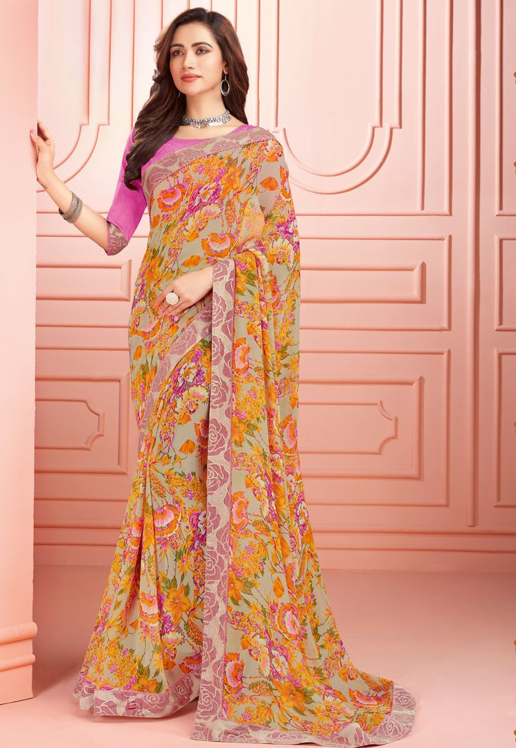 Multi Color Georgette Kitty Party Sarees : Ganika Collection  NYF-3149 - YellowFashion.in