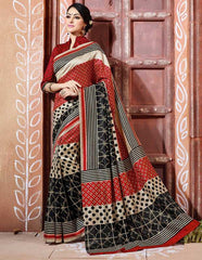 Light Coffee, Red & Black Color Bhagalpuri Party Wear Sarees : Tashvi Collection  YF-32654