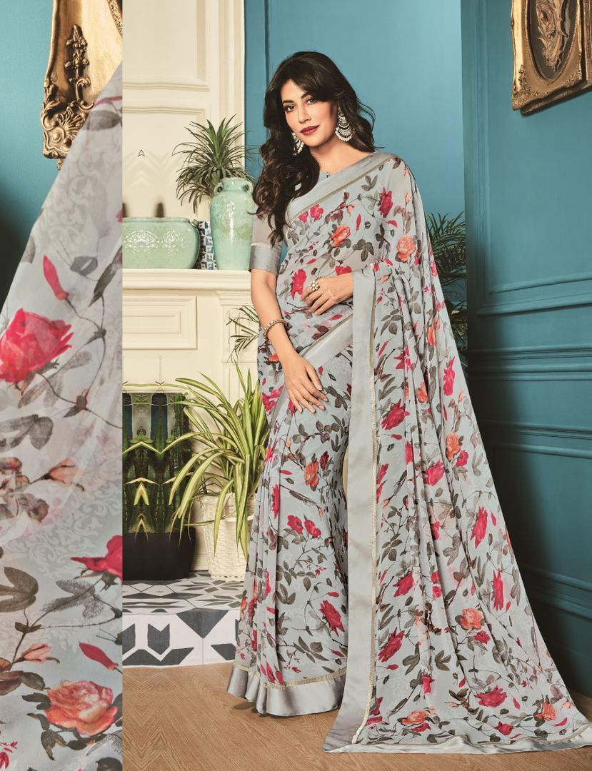 Grey Color Chiffon Party Wear Sarees : Kiyansh Collection  NYF-3205 - YellowFashion.in
