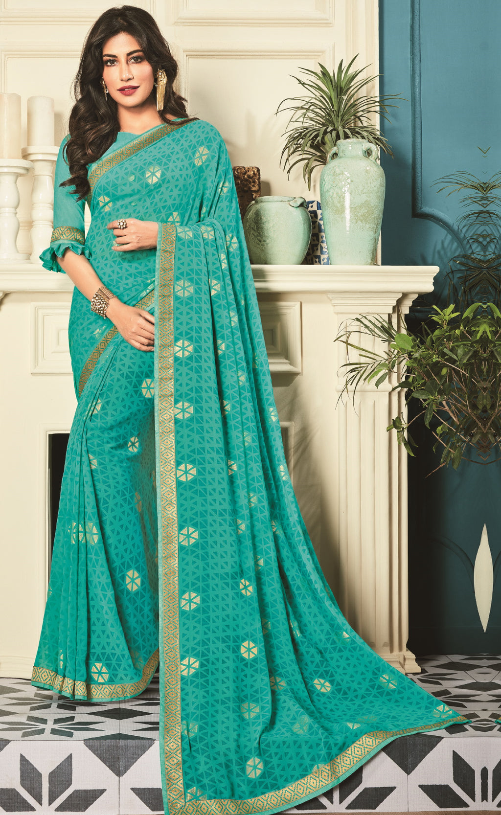 Firozi Color Georgette Trendy Office Wear Sarees NYF-6310