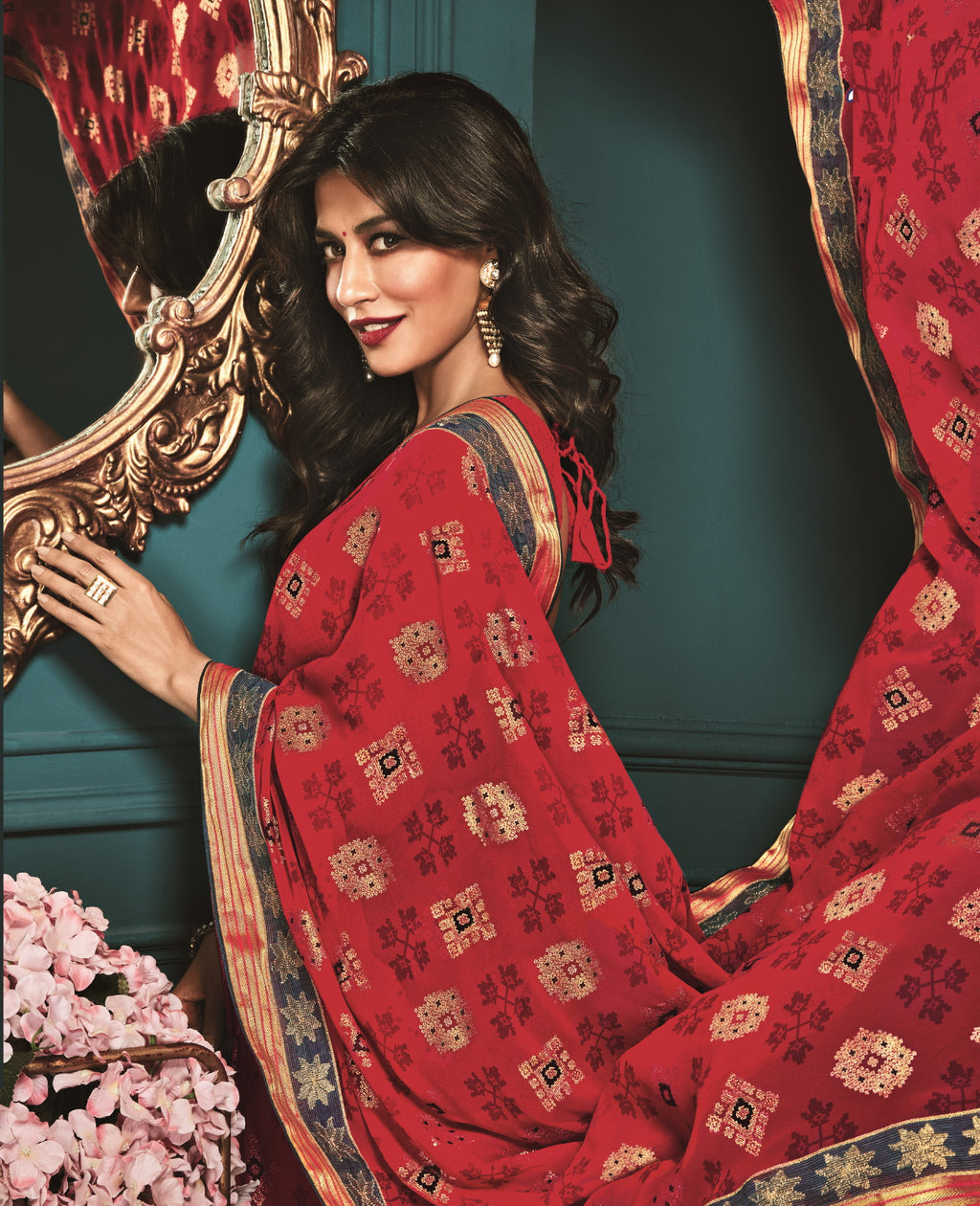 Red Color Crepe Silk Trendy Office Wear Sarees NYF-6311