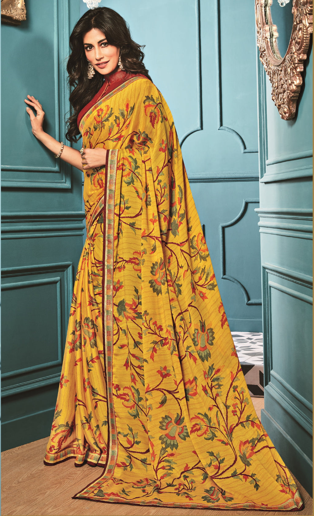 Yellow Color Georgette Trendy Office Wear Sarees NYF-6312