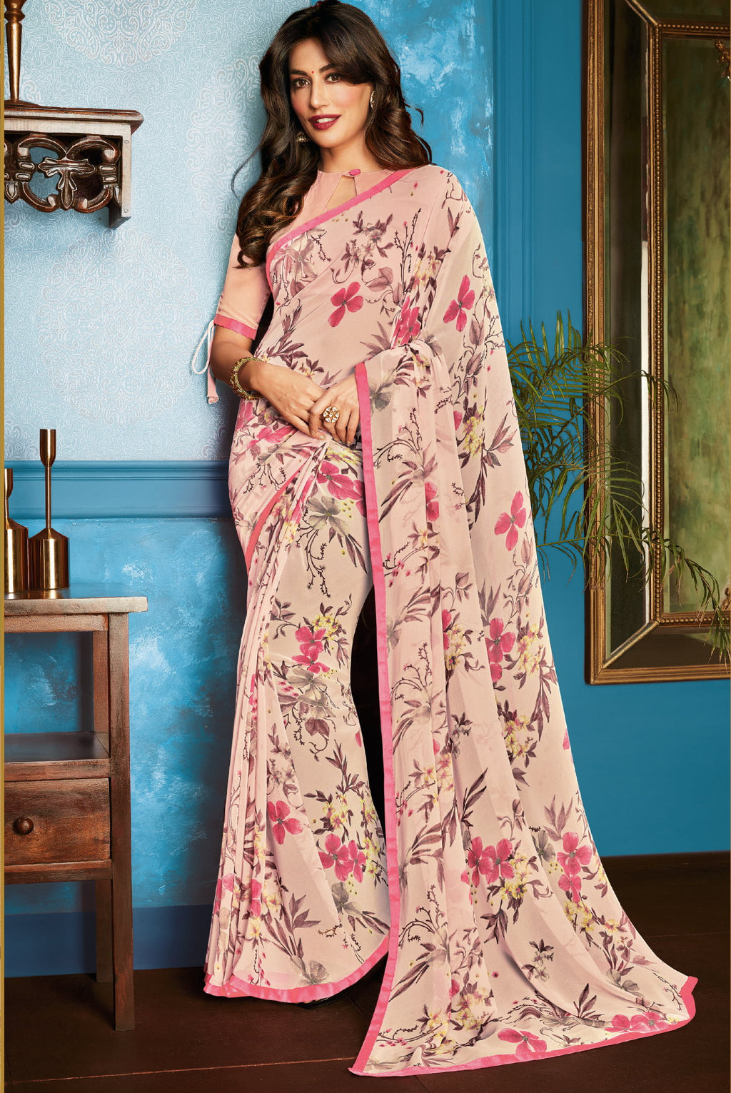 Baby Pink Color Georgette Trendy Office Wear Sarees NYF-6314