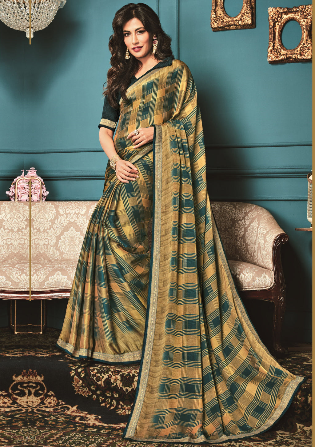 Light Coffee & Green Color Crepe Georgette Trendy Office Wear Sarees NYF-6315