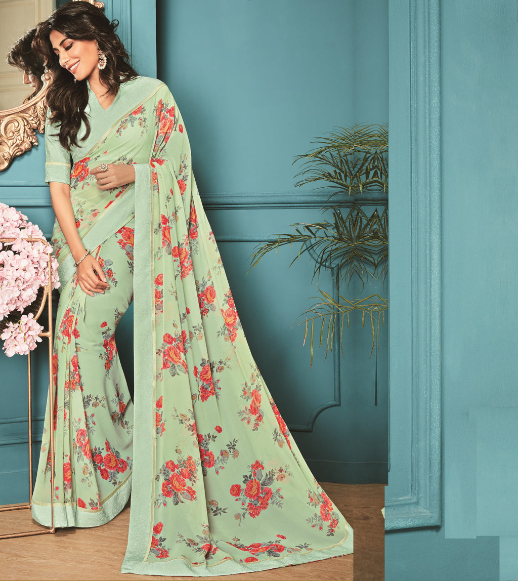 Aqua Green Color Georgette Party Wear Sarees : Kiyansh Collection  NYF-3207 - YellowFashion.in