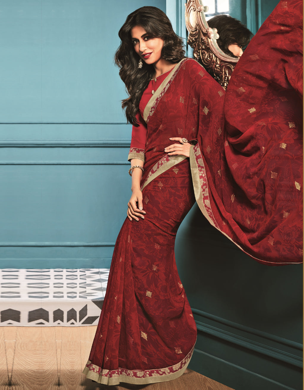 Maroon Color Georgette Trendy Office Wear Sarees NYF-6316