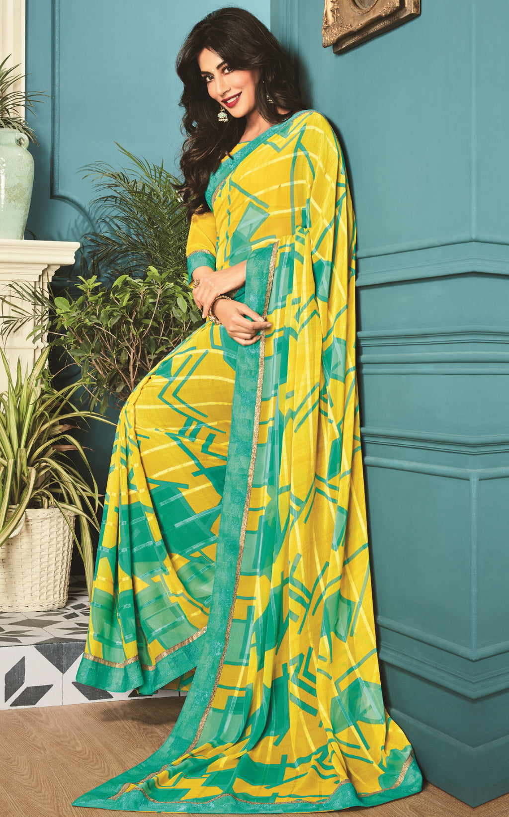 Yellow Color Georgette Trendy Office Wear Sarees NYF-6317