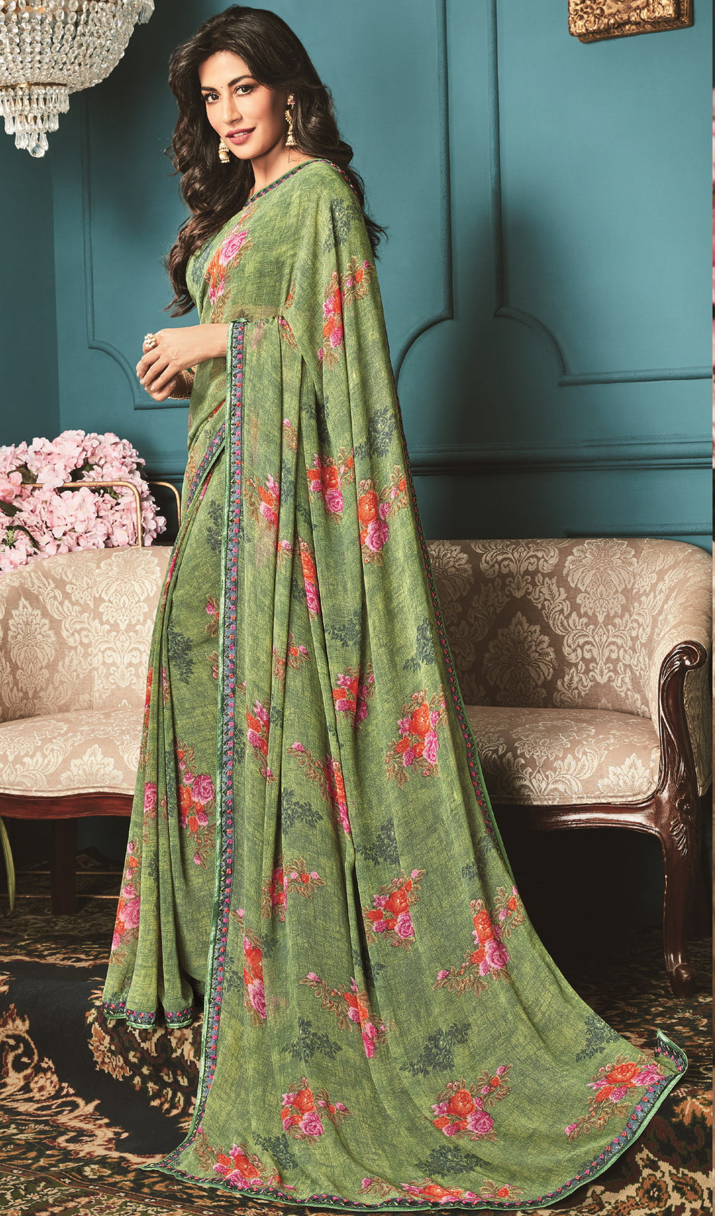 Green Color Georgette Trendy Office Wear Sarees NYF-6319