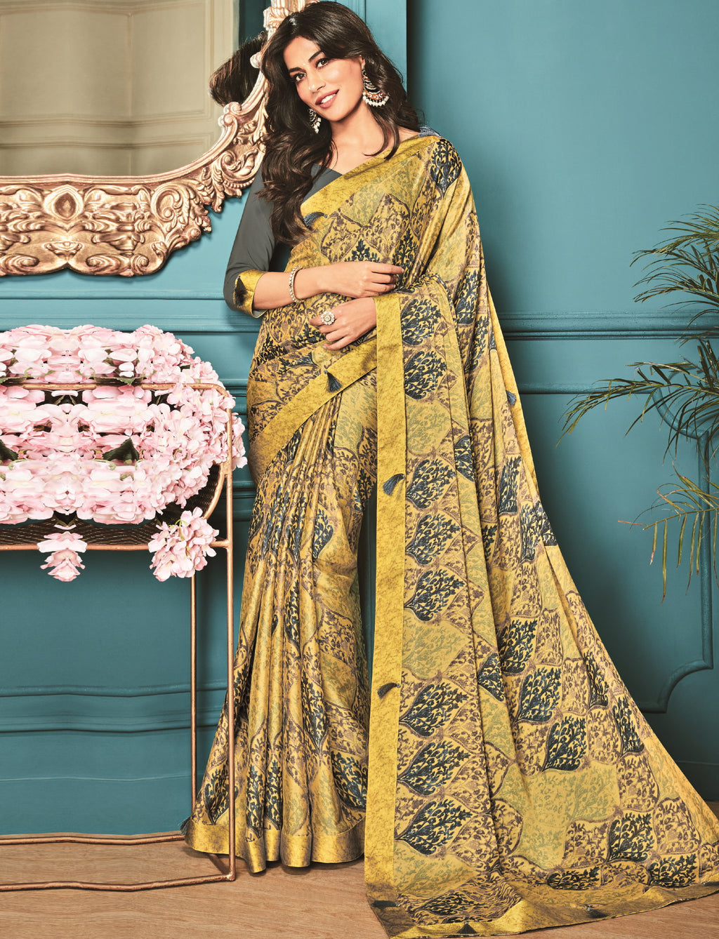 Yellow Color Crepe Silk Trendy Office Wear Sarees NYF-6320