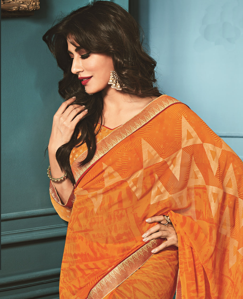 Orange Color Georgette Trendy Office Wear Sarees NYF-6321