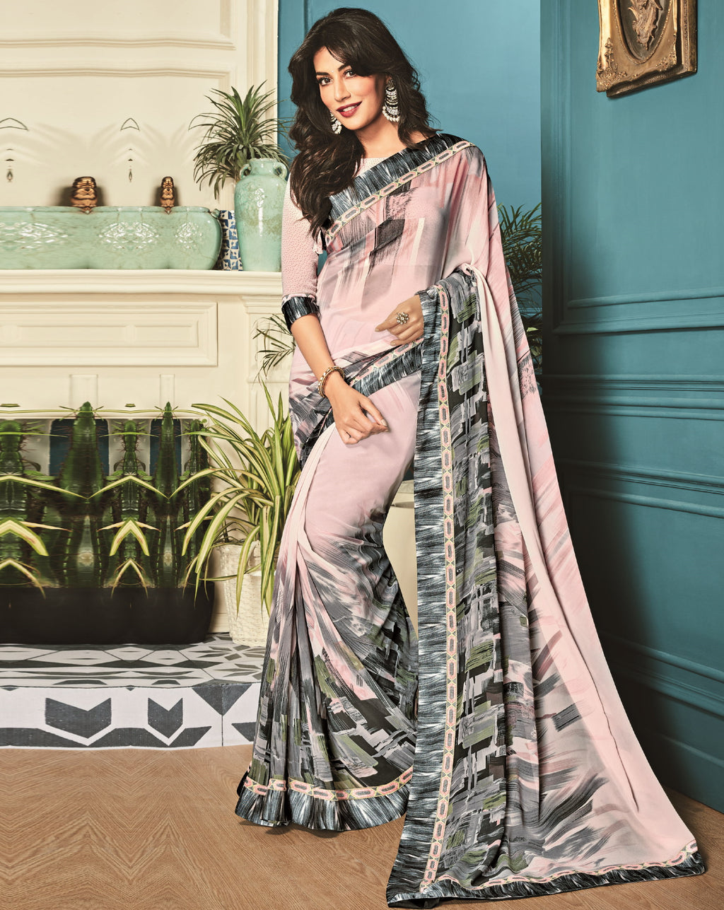 Baby Pink Color Georgette Trendy Office Wear Sarees NYF-6322