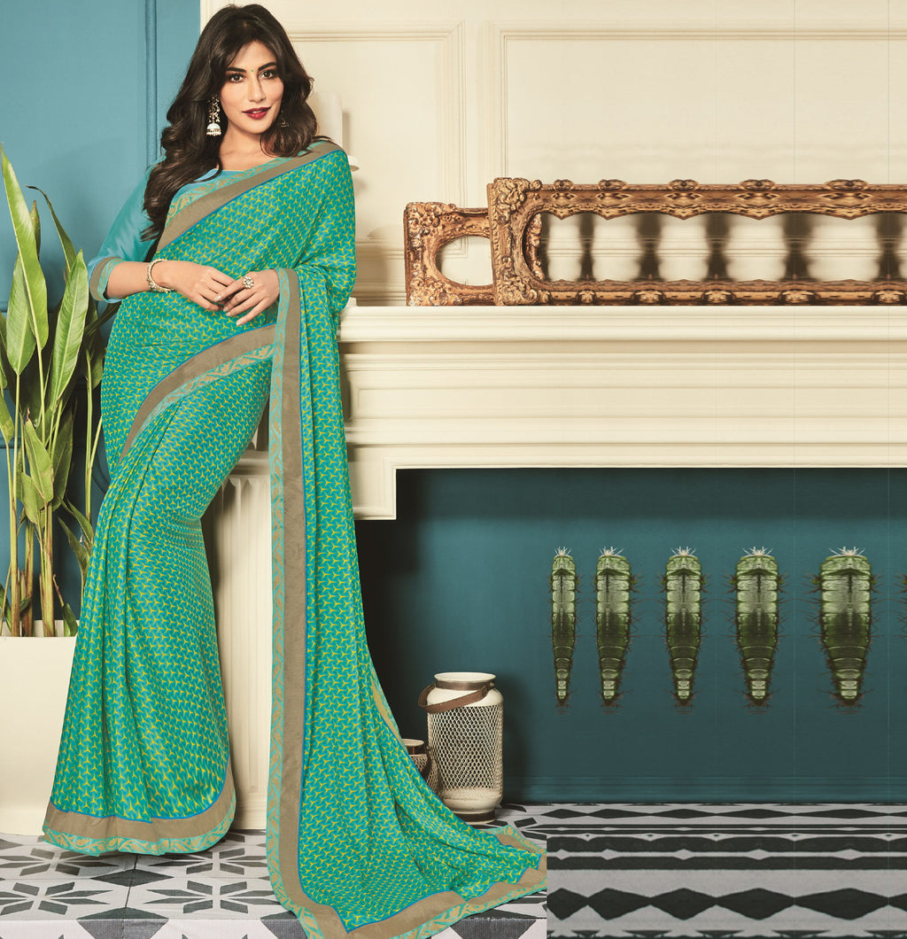 Green Color Crepe Silk Party Wear Sarees : Kiyansh Collection  NYF-3208 - YellowFashion.in