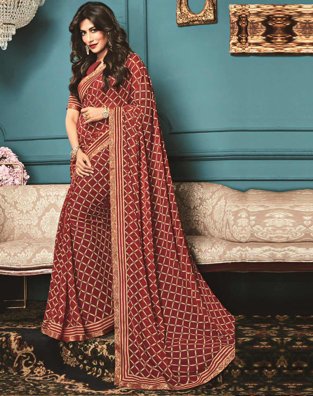 Red Color Georgette Trendy Office Wear Sarees NYF-6323