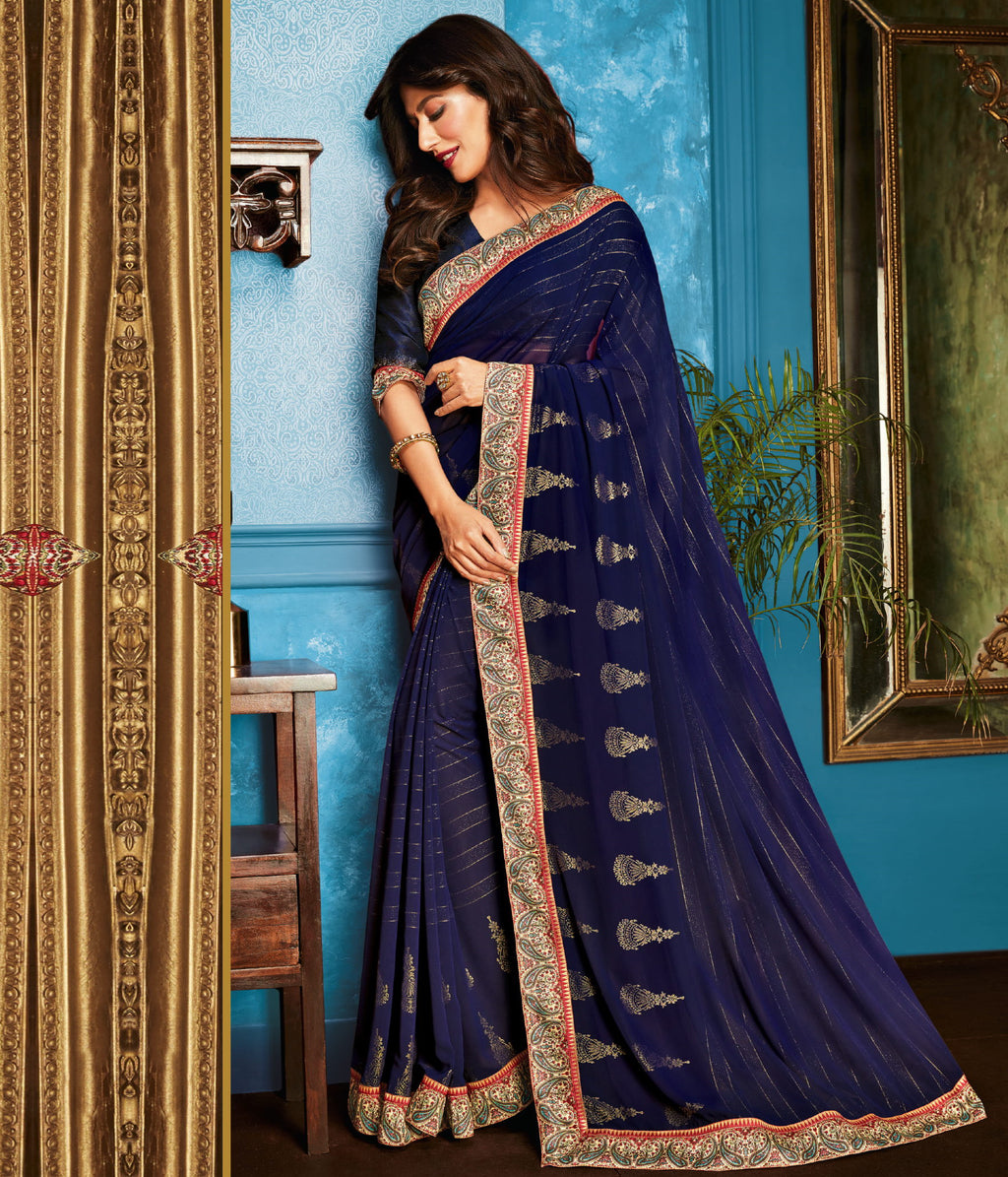 Blue Color Georgette Trendy Office Wear Sarees NYF-6324
