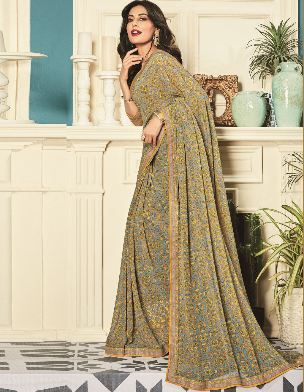 Beige Color Georgette Trendy Office Wear Sarees NYF-6326