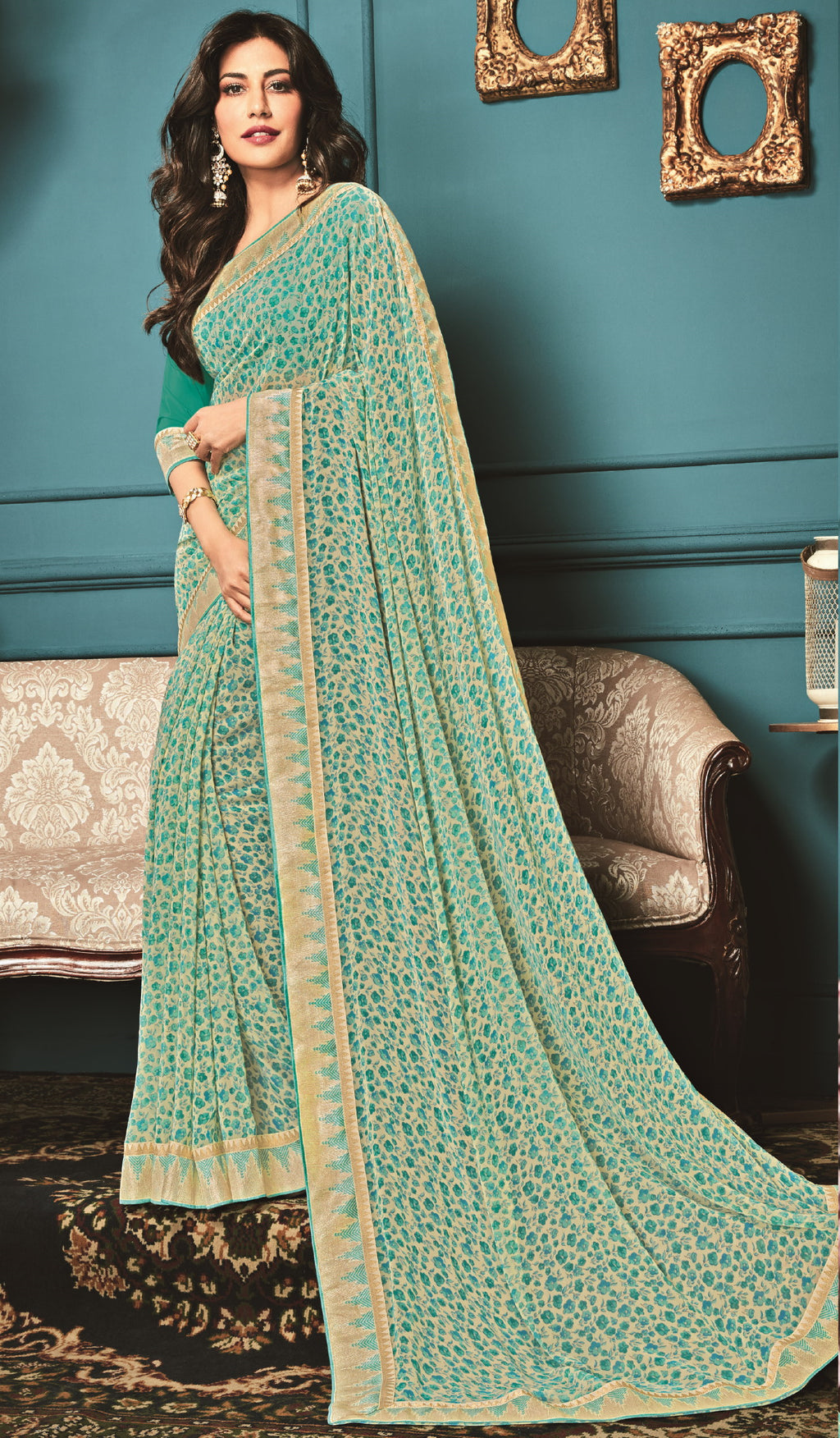 Cream & Sea Green Color Georgette Trendy Office Wear Sarees NYF-6327