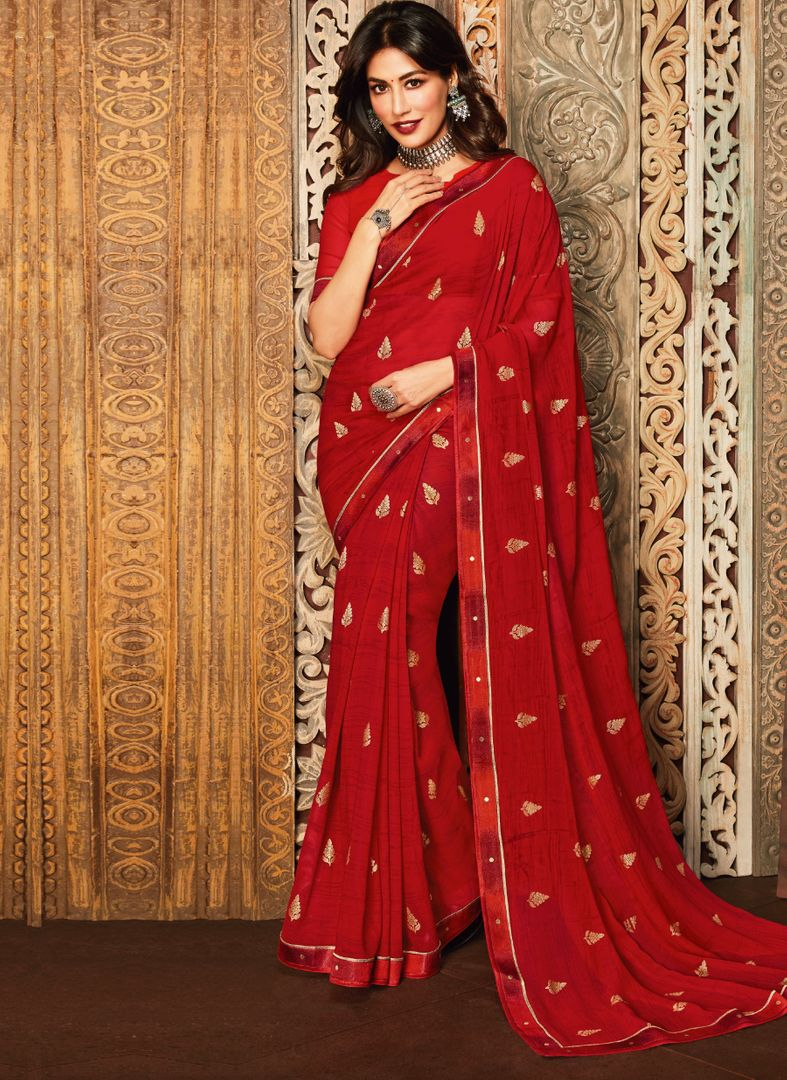 Red Color Chiffon Kitty Party Sarees : Eshwari Collection  NYF-3120 - YellowFashion.in