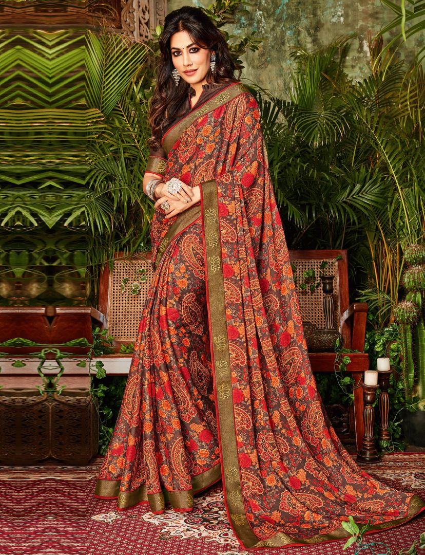 Multi Color Crepe Silk Kitty Party Sarees : Eshwari Collection  NYF-3122 - YellowFashion.in