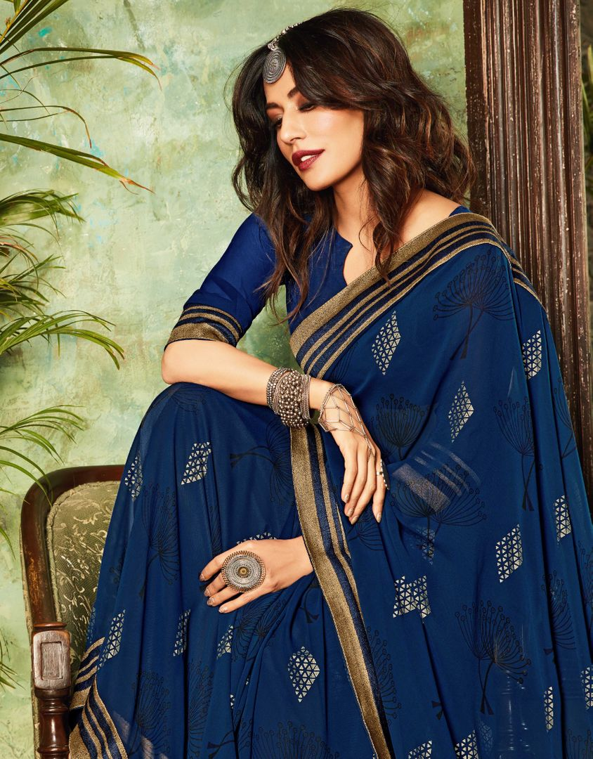 Blue Color Chiffon Kitty Party Sarees : Eshwari Collection  NYF-3123 - YellowFashion.in