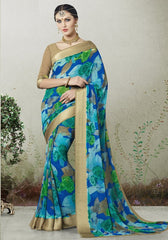 Blue & Green Color Georgette Casual Wear Sarees : Indrishta Collection  YF-48498