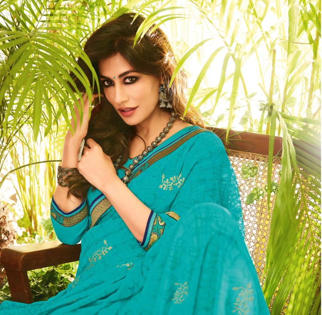 Firozi Color Chiffon Kitty Party Sarees : Eshwari Collection  NYF-3124 - YellowFashion.in