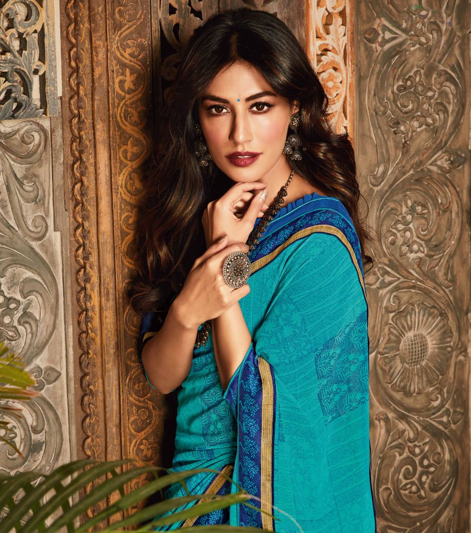 Sky Blue Color Chiffon Kitty Party Sarees : Eshwari Collection  NYF-3125 - YellowFashion.in
