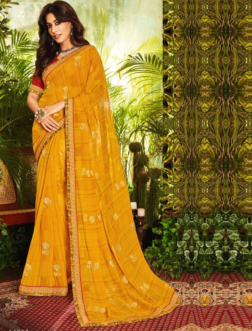 Yellow Color Chiffon Kitty Party Sarees : Eshwari Collection  NYF-3127 - YellowFashion.in