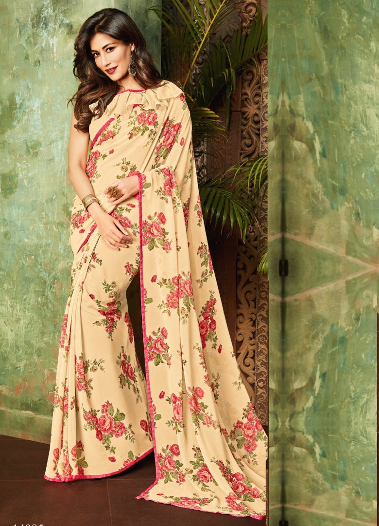 Cream Color Georgette Kitty Party Sarees : Eshwari Collection  NYF-3129 - YellowFashion.in