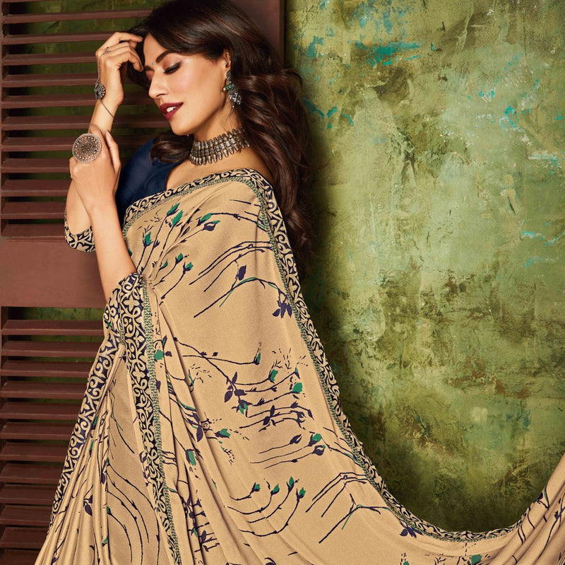 Beige Color Crepe Silk Kitty Party Sarees : Eshwari Collection  NYF-3130 - YellowFashion.in