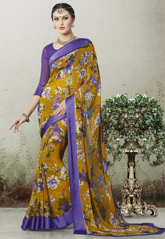 Mustard Yellow & Purple Color Georgette Casual Wear Sarees : Indrishta Collection  YF-48499