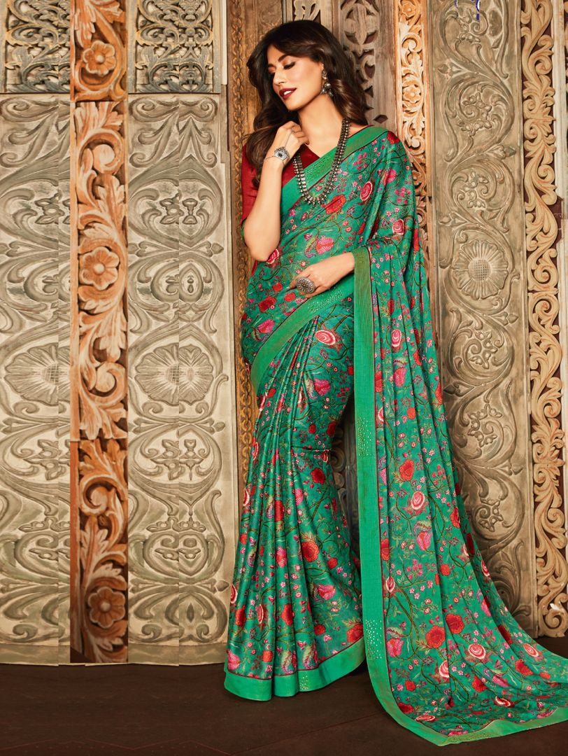 Green Color Crepe Silk Kitty Party Sarees : Eshwari Collection  NYF-3134 - YellowFashion.in
