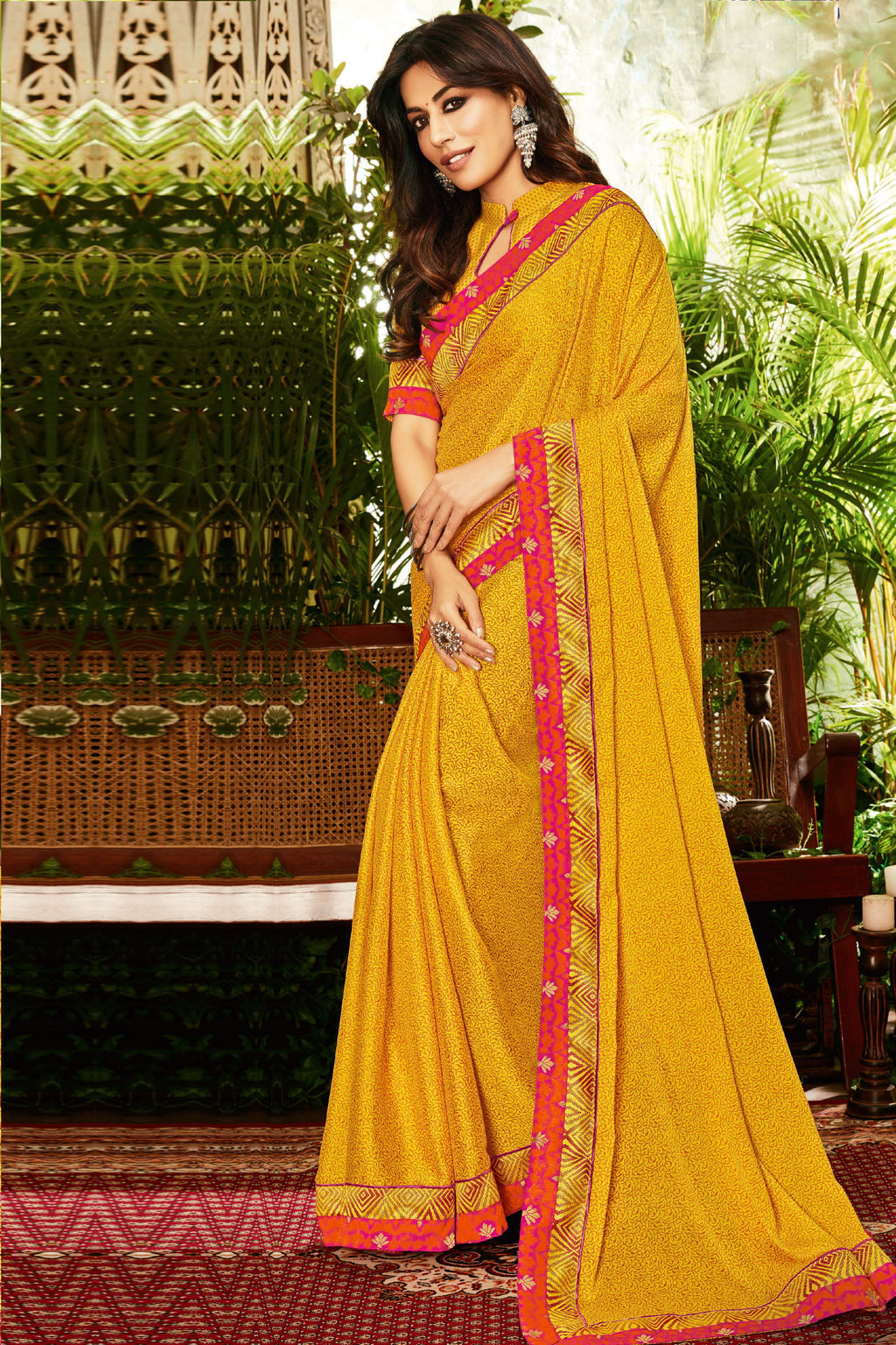 Yellow Color Crepe Silk Kitty Party Sarees : Eshwari Collection  NYF-3136 - YellowFashion.in