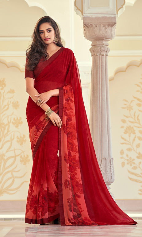 Shades of Red Color Georgette Casual Wear Saree -   Iksha  Collection  YF#11401