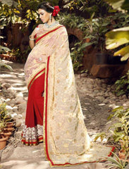 Cream & Red Color Georgette Festival & Function Sarees : Rangreet Collection  YF-27864