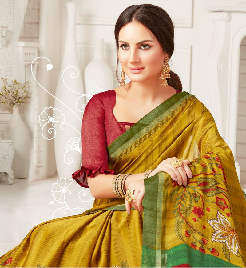 Mustard Yellow Color Crepe Georgette Party Wear Sarees : Sarankhi Collection  NYF-3258 - YellowFashion.in