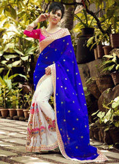 White & Purple Color Half Net & Half Georgette Festival & Function Sarees : Rangreet Collection  YF-27866