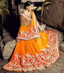 Yellow & Orange Color Wrinkle Chiffon Festival & Function Sarees : Rangreet Collection  YF-27867