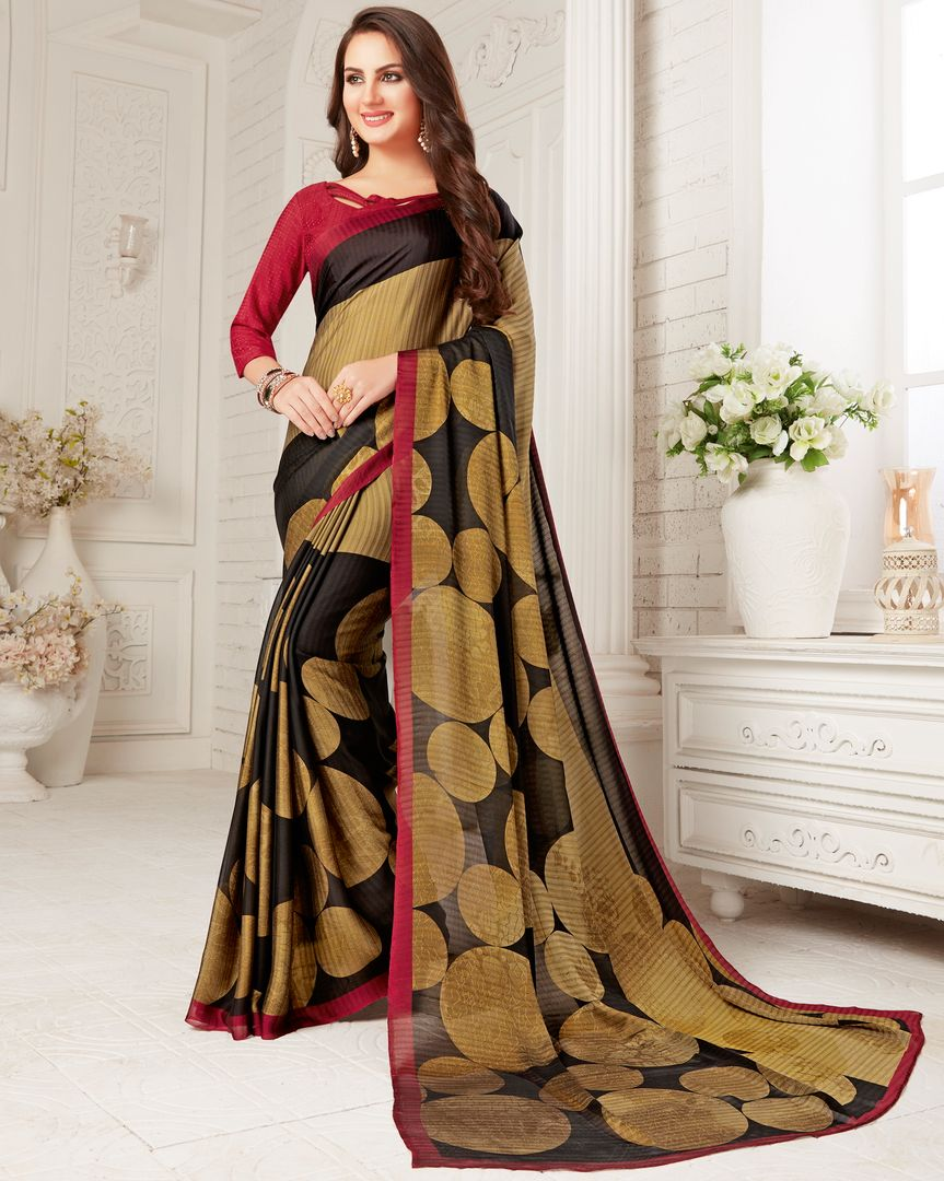 Black & Golden Color Crepe Georgette Party Wear Sarees : Sarankhi Collection  NYF-3259 - YellowFashion.in