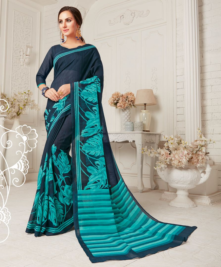 Blue & Firozi Color Crepe Georgette Party Wear Sarees : Sarankhi Collection  NYF-3260 - YellowFashion.in