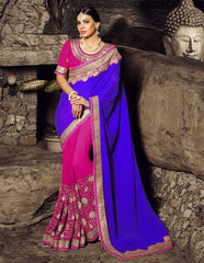 Pink & Purple Color Half Jacquard Crepe & Half Georgette Festival & Function Sarees : Rangreet Collection  YF-27869
