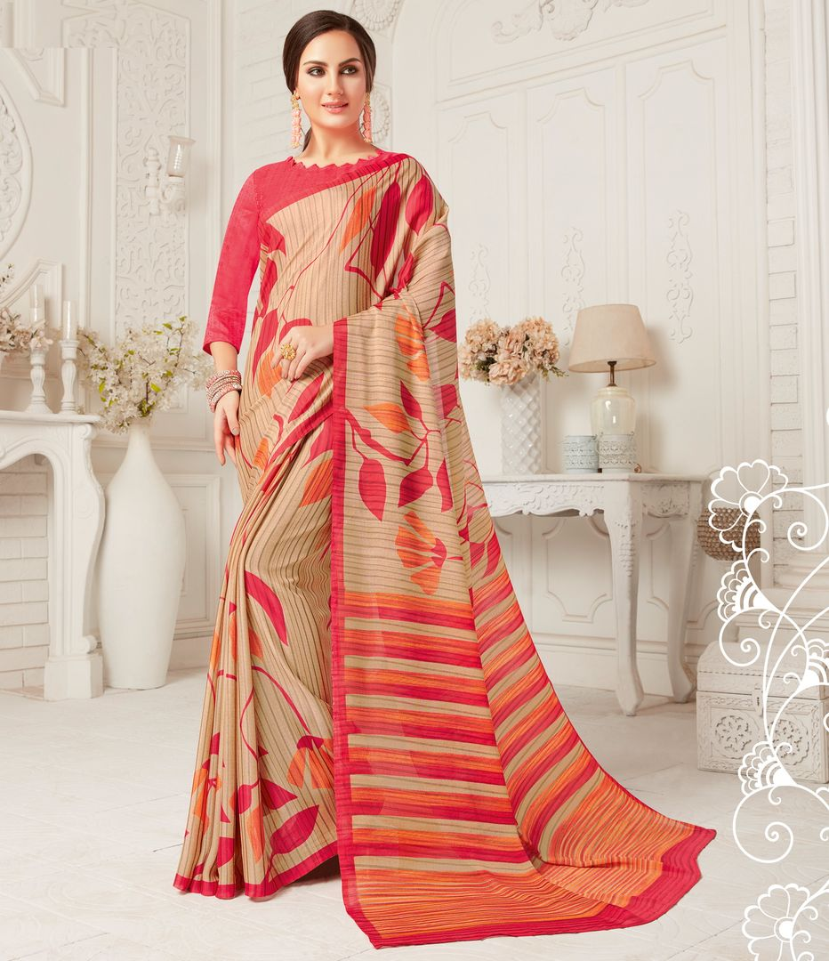 Cream & Pink Color Crepe Georgette Party Wear Sarees : Sarankhi Collection  NYF-3261 - YellowFashion.in