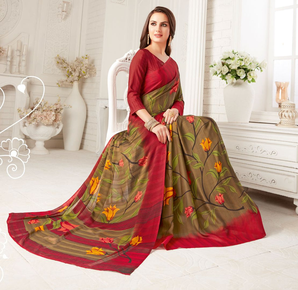 Beige Color Crepe Georgette Party Wear Sarees : Sarankhi Collection  NYF-3262 - YellowFashion.in