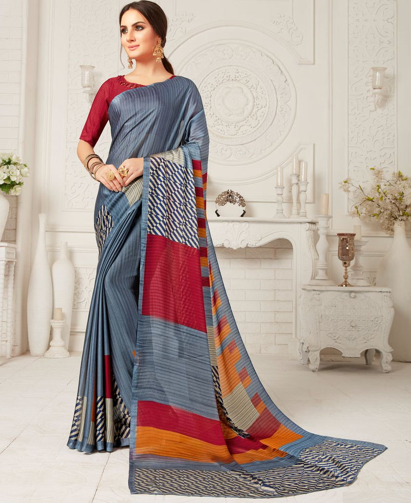 Grey Color Crepe Georgette Party Wear Sarees : Sarankhi Collection  NYF-3263 - YellowFashion.in