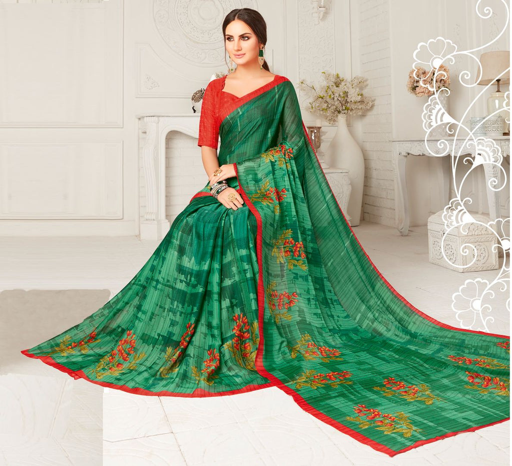 Green Color Crepe Georgette Party Wear Sarees : Sarankhi Collection  NYF-3264 - YellowFashion.in